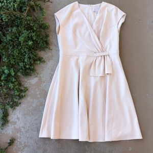 Gal Meets Glam Lydia Cream Double Face Twist Dress